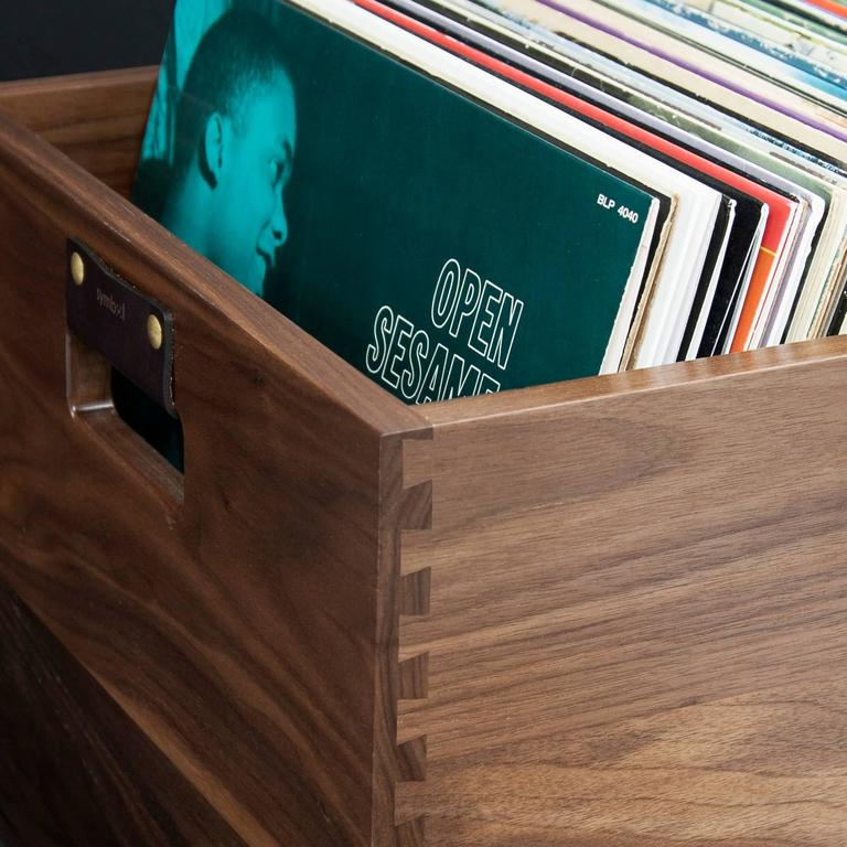 Modern Solid Walnut Dovetail Record Crate For Sale
