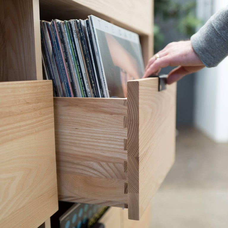 Modern Dovetail Vinyl Record Storage Cabinet in Solid Ash with 3 Drawers For Sale