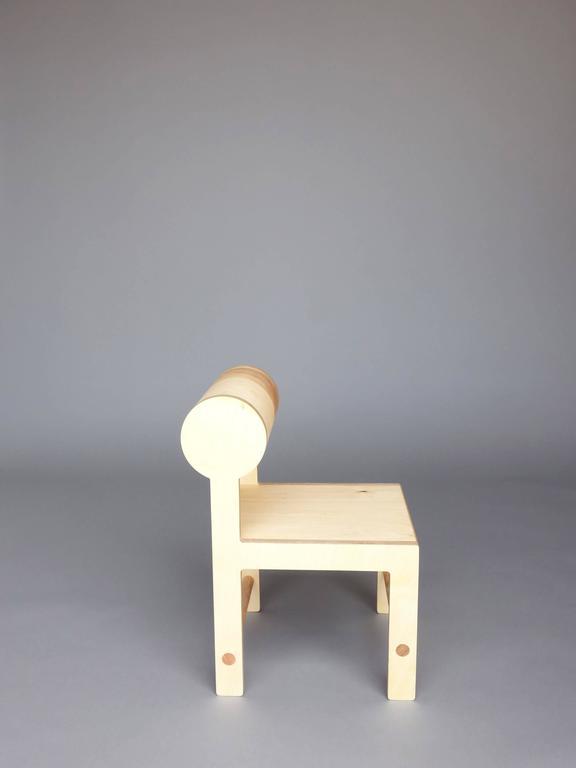 Waka zeitgenössischer Zylinder wieder Holz Mini Akzent Stuhl 2