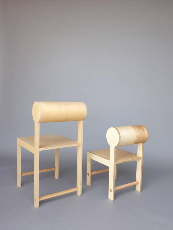 Waka zeitgenössischer Zylinder wieder Holz Mini Akzent Stuhl 6