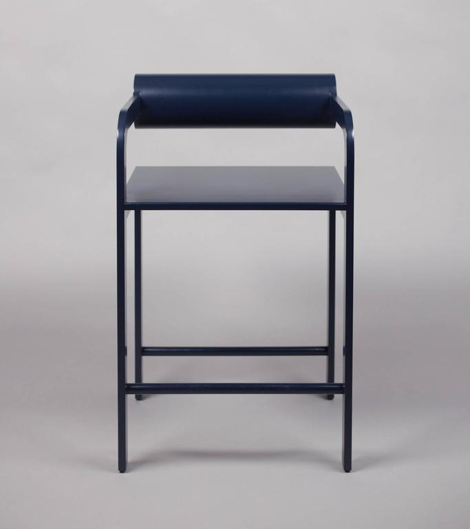 Post-Modern Waka Waka Contemporary Indigo Blue Lacquer Cylinder Back Accent High Armchair For Sale