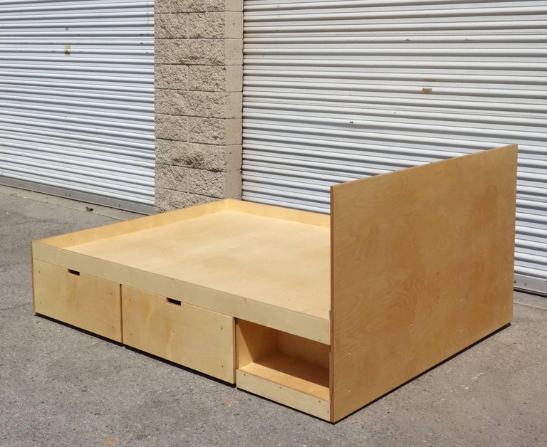 Waka Waka Contemporary Plywood Box Bed With Storage For