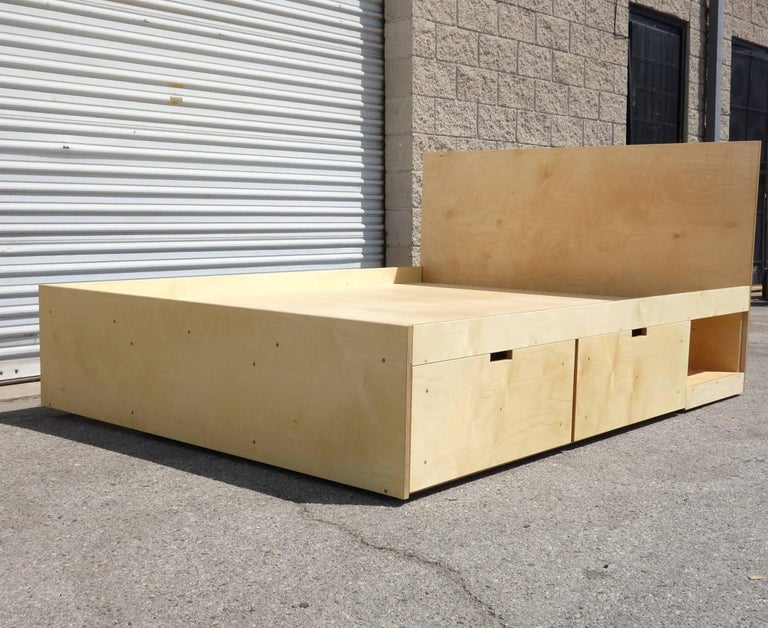 Waka Waka Contemporary Plywood Box Bed with Storage In New Condition For Sale In Los Angeles, CA