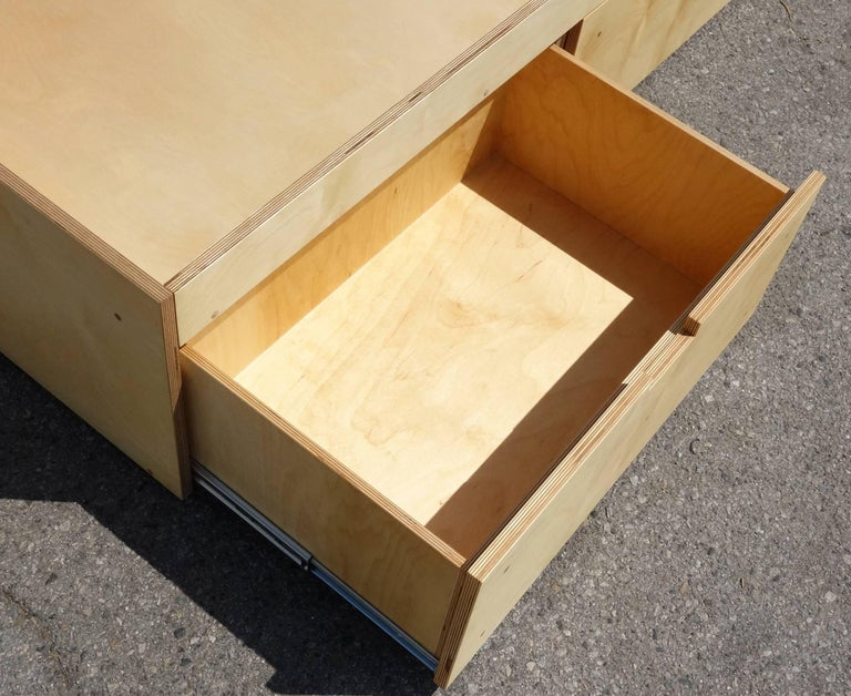 Oiled Waka Waka Contemporary Plywood Box Bed with Storage For Sale