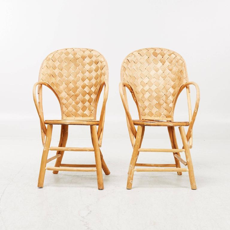 Mid-Century Modern Wicker Handmade Le Corbusier Chairs For Sale