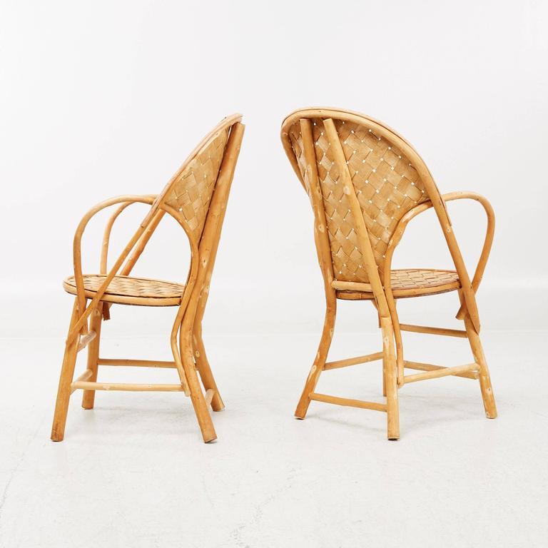 Le Corbusier pair of chairs handmade in wicker.
