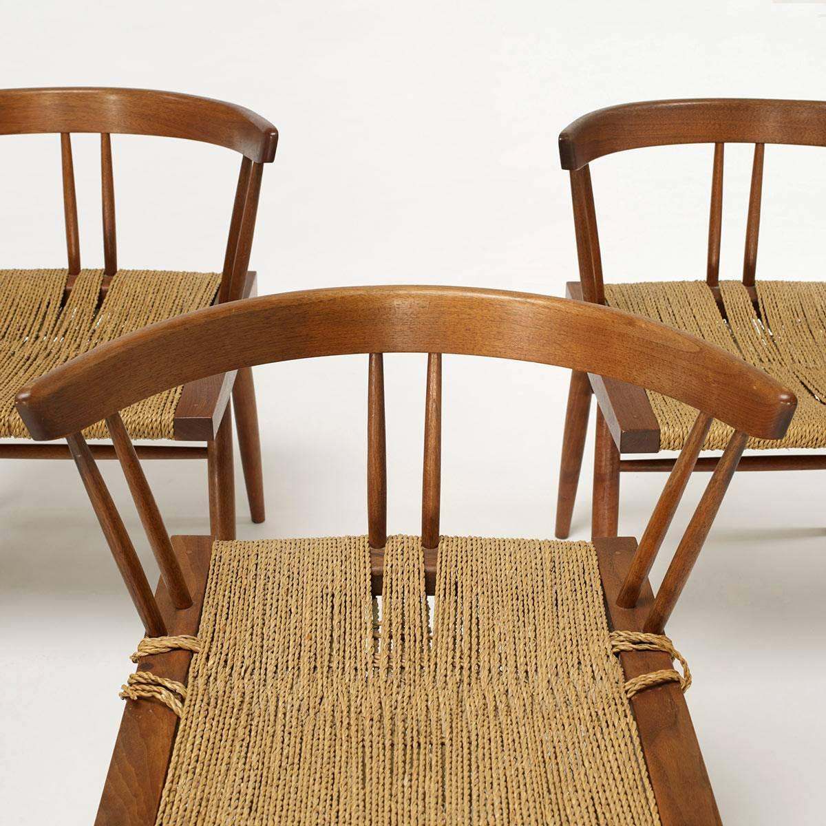 George Nakashima Grass Seat And Walnut Chairs 2