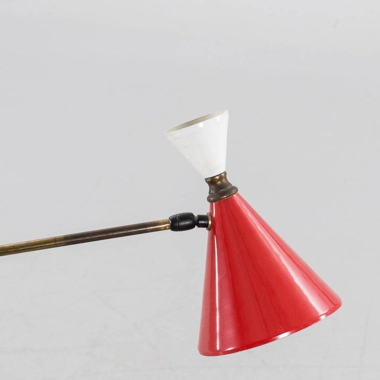 Melrose Mid Century Brass White Shade Floor Lamp: Mid-Century Italian Brass Floor Lamp For Sale At 1stdibs