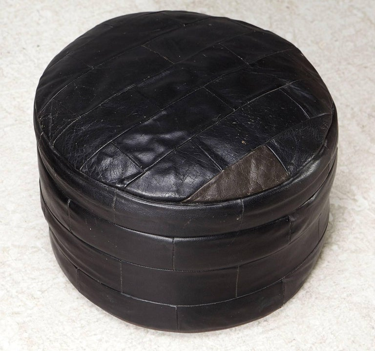 Mid Century Scandinavian Modern Pair Of Black Leather Ottomans For Sale At 1stdibs