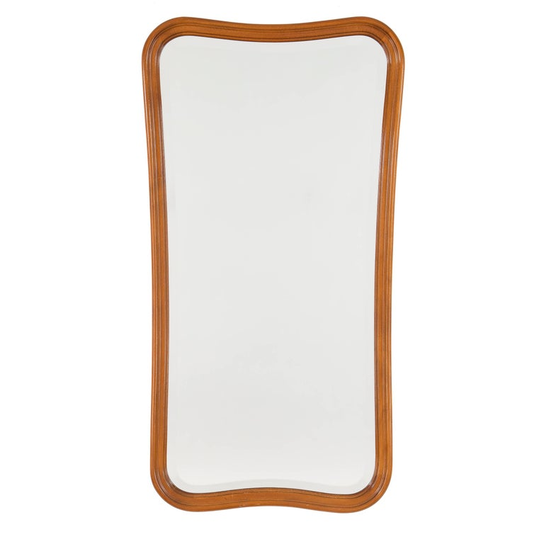 Scandinavian Modern Full Length Shaped Bevelled Mirror by Swedish Glas & Trä For Sale