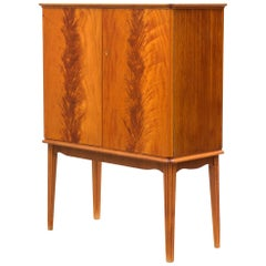 Scandinavian Art Deco Birchwood Flame Cabinet, 1930s