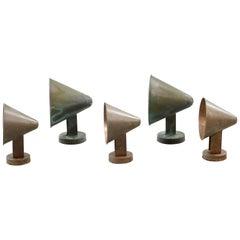 Set of Five Scandinavian Midcentury Copper Outdoor Cone Wall Lamps