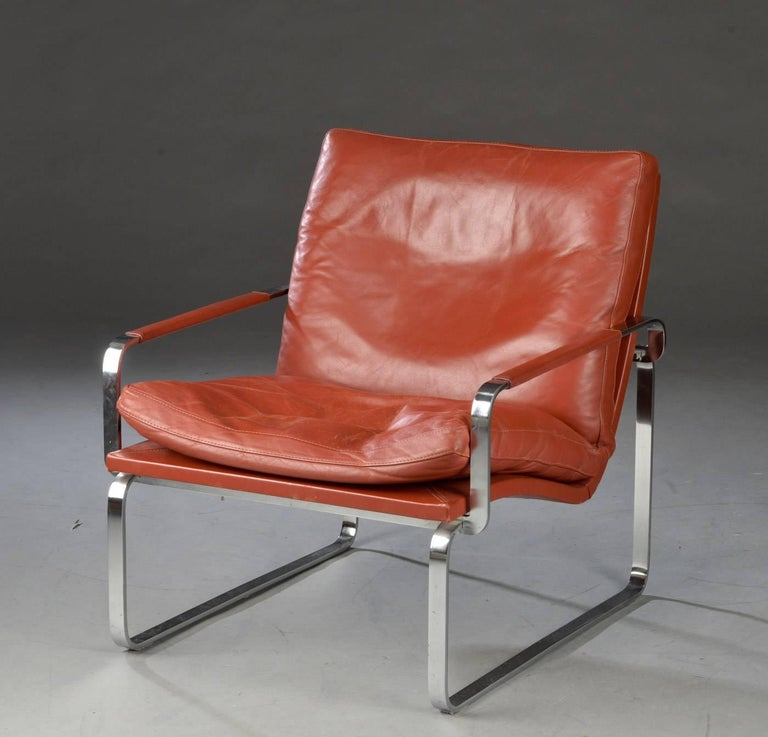 Steel Pair of Danish Lounge Chairs by Jørgen Lund & Ole Larsen for Bo-Ex