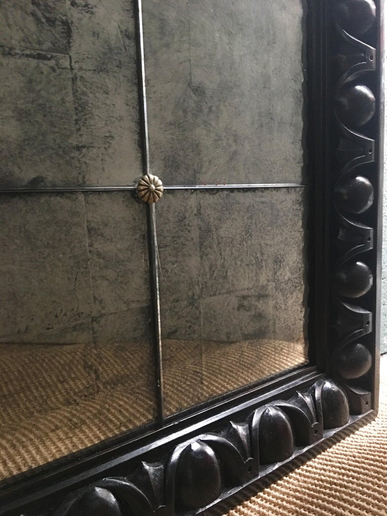 British 19th Century English Carved Mahogany Mirror with Paneled Verre Églomisé Glass For Sale