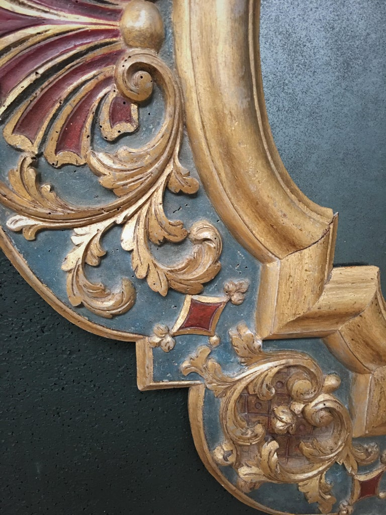 European 19th Century Carved Wood Gothic Style Mirror For Sale