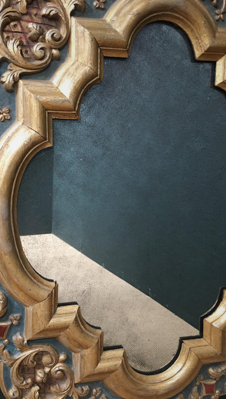 19th Century Carved Wood Gothic Style Mirror In Good Condition For Sale In Chudleigh, Devon