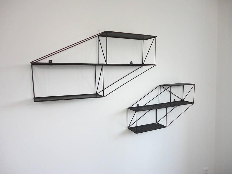 Mid-Century French Architectural Wall Shelves in Perforated Metal, 1950s 2