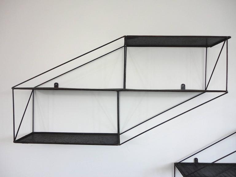 Mid-Century French Architectural Wall Shelves in Perforated Metal, 1950s 3