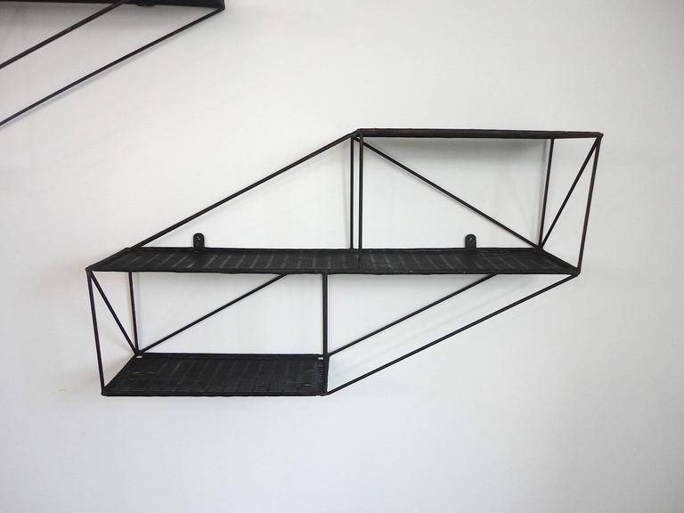 Mid-Century French Architectural Wall Shelves in Perforated Metal, 1950s 7