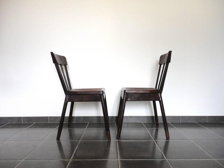 Pair of French Metal and Oak Chairs Attributed to Albert Armand Rateau, 1929 In Good Condition For Sale In La Teste De Buch, FR