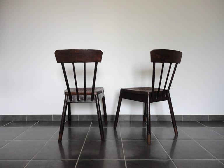 Art Deco Pair of French Metal and Oak Chairs Attributed to Albert Armand Rateau, 1929 For Sale