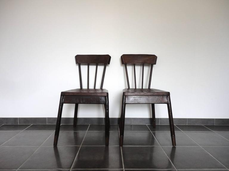 Faux Bois Pair of French Metal and Oak Chairs Attributed to Albert Armand Rateau, 1929 For Sale