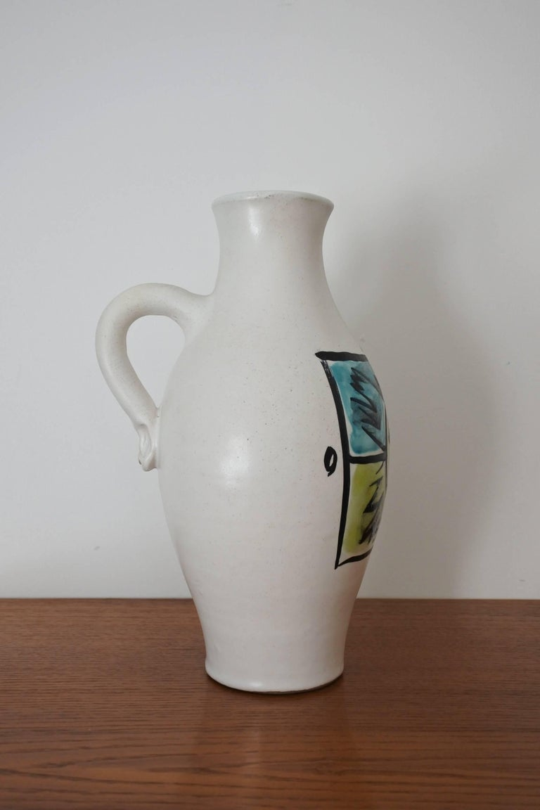 Mid-Century Modern Georges Jouve Mid Century Ceramic Pitcher Vase, France 1950s For Sale