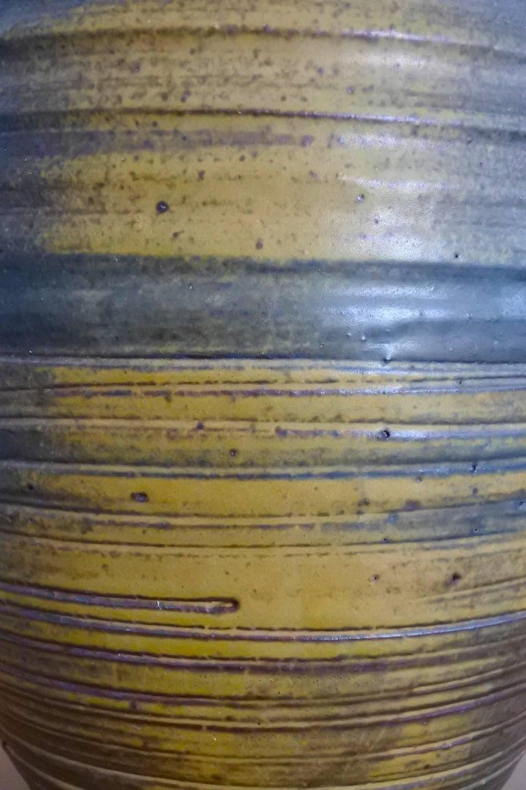Large studio glazed earthenware vase.  Quality american mid century modern work. Outstanding glaze.