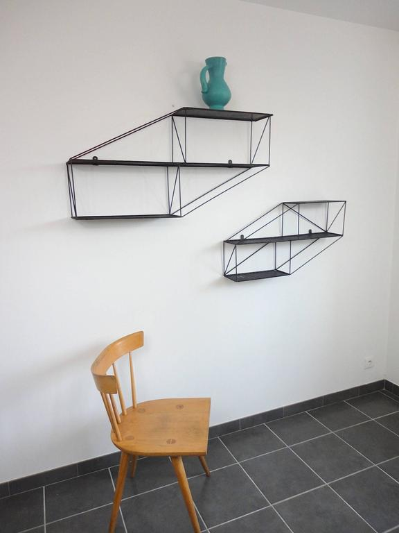 Mid-Century French Architectural Wall Shelves in Perforated Metal, 1950s 10