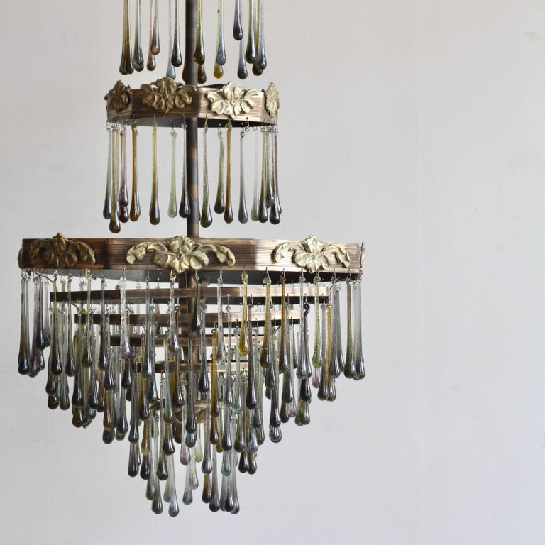 1920s Waterfall Chandelier with Contemporary Teardrops In Good Condition For Sale In Stockport, GB