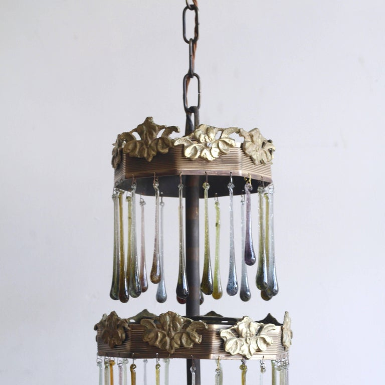 Early 20th Century 1920s Waterfall Chandelier with Contemporary Teardrops For Sale