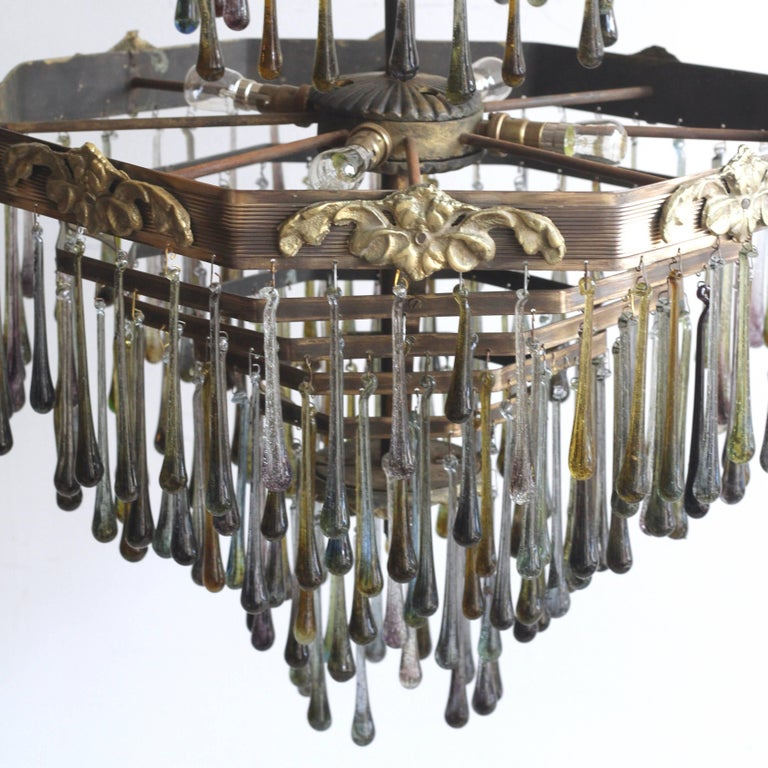 Brass 1920s Waterfall Chandelier with Contemporary Teardrops For Sale