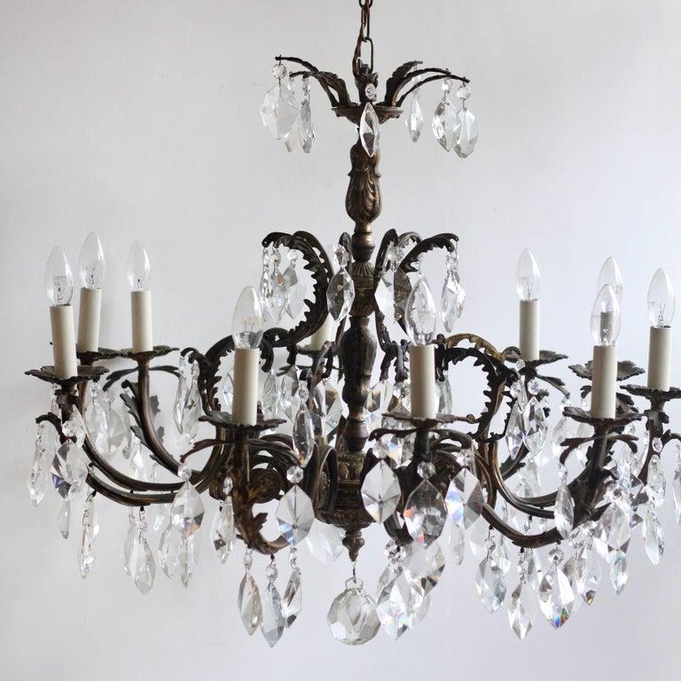 Late 20th century ornate brass chandelier dressed in cut crystal french late 20th century ornate brass chandelier dressed in cut crystal drops for sale aloadofball Gallery