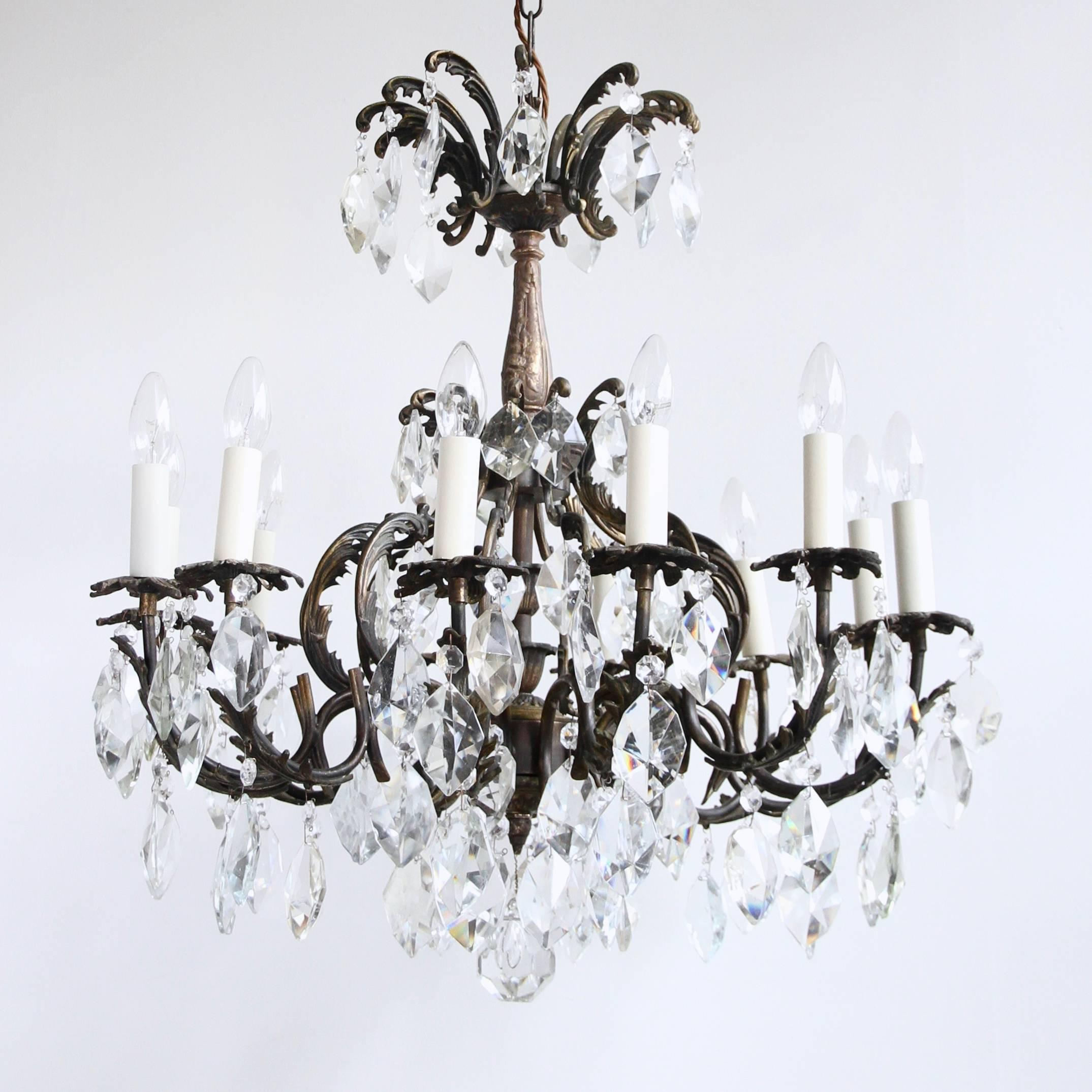 Early 1900s french ornate brass chandelier with cut crystal iceberg early 1900s french ornate brass chandelier with cut crystal iceberg drops at 1stdibs aloadofball Image collections