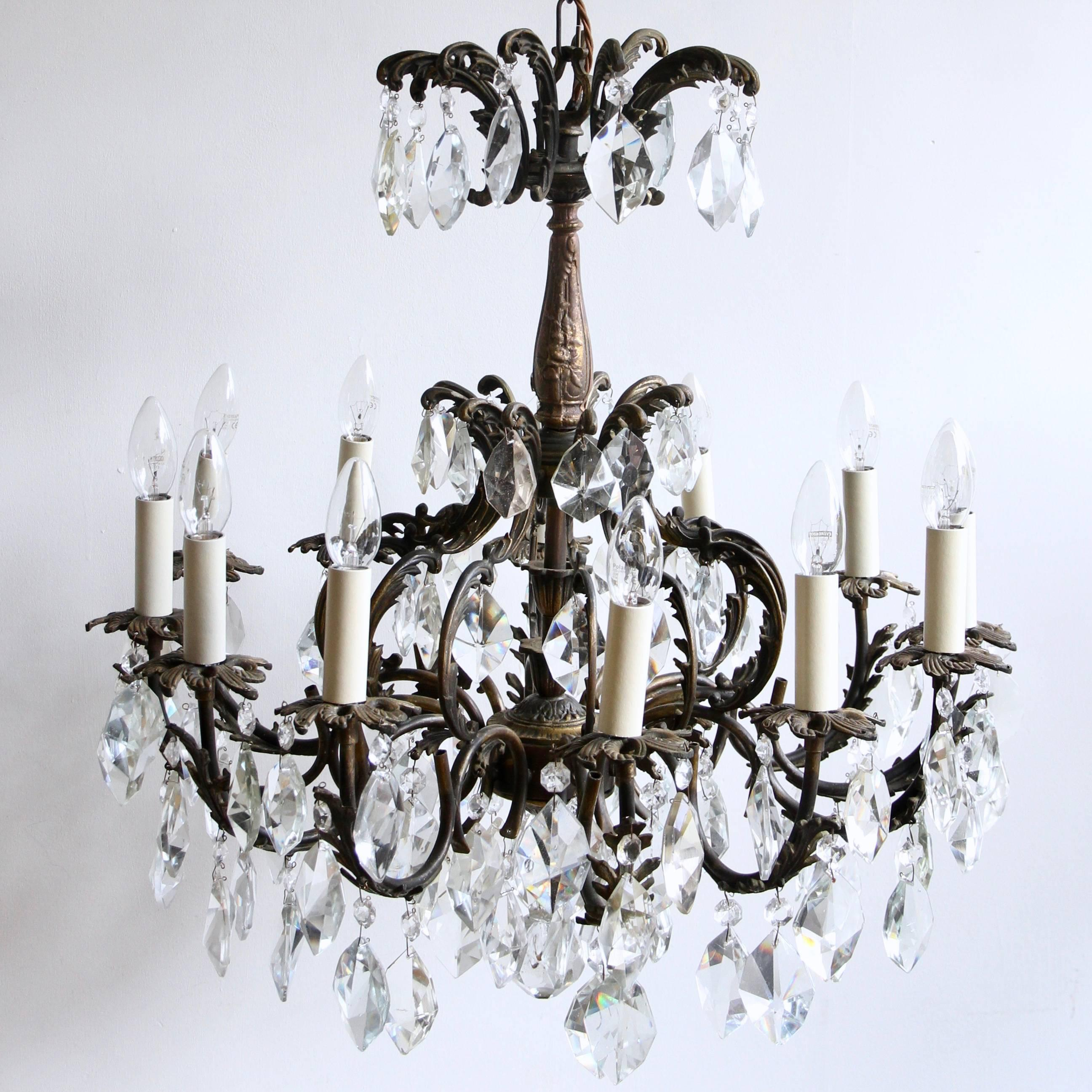Early 1900s french ornate brass chandelier with cut crystal iceberg early 1900s french ornate brass chandelier with cut crystal iceberg drops for sale at 1stdibs aloadofball Gallery