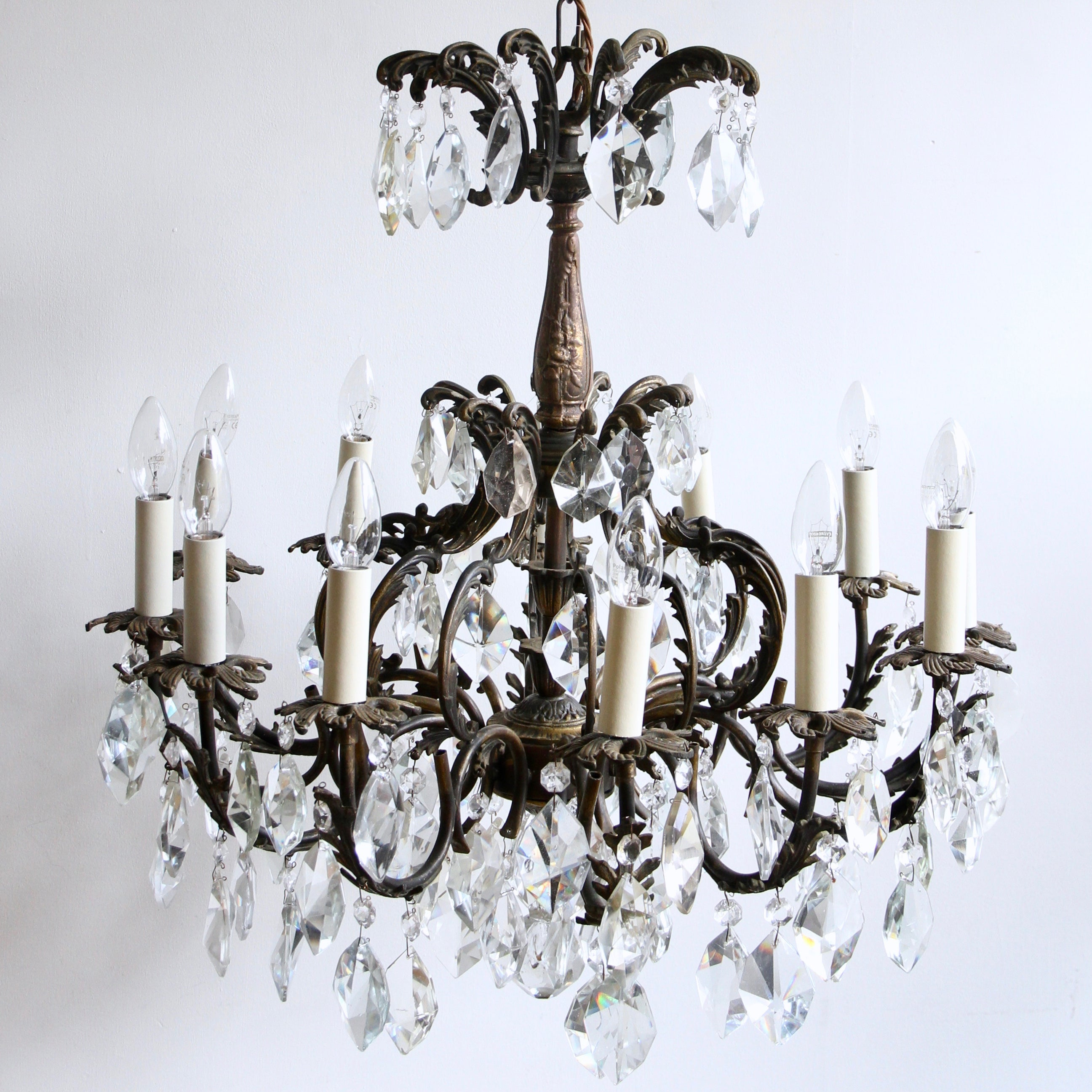 Early 1900s french ornate brass chandelier with cut crystal iceberg early 1900s french ornate brass chandelier with cut crystal iceberg drops for sale at 1stdibs aloadofball Choice Image
