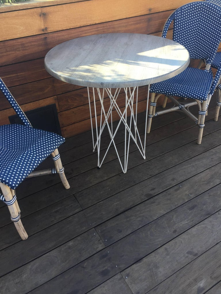 Outdoor Teak Dining or Entry Table Mid-Century Inspired Steel Powder Coated Base For Sale 1