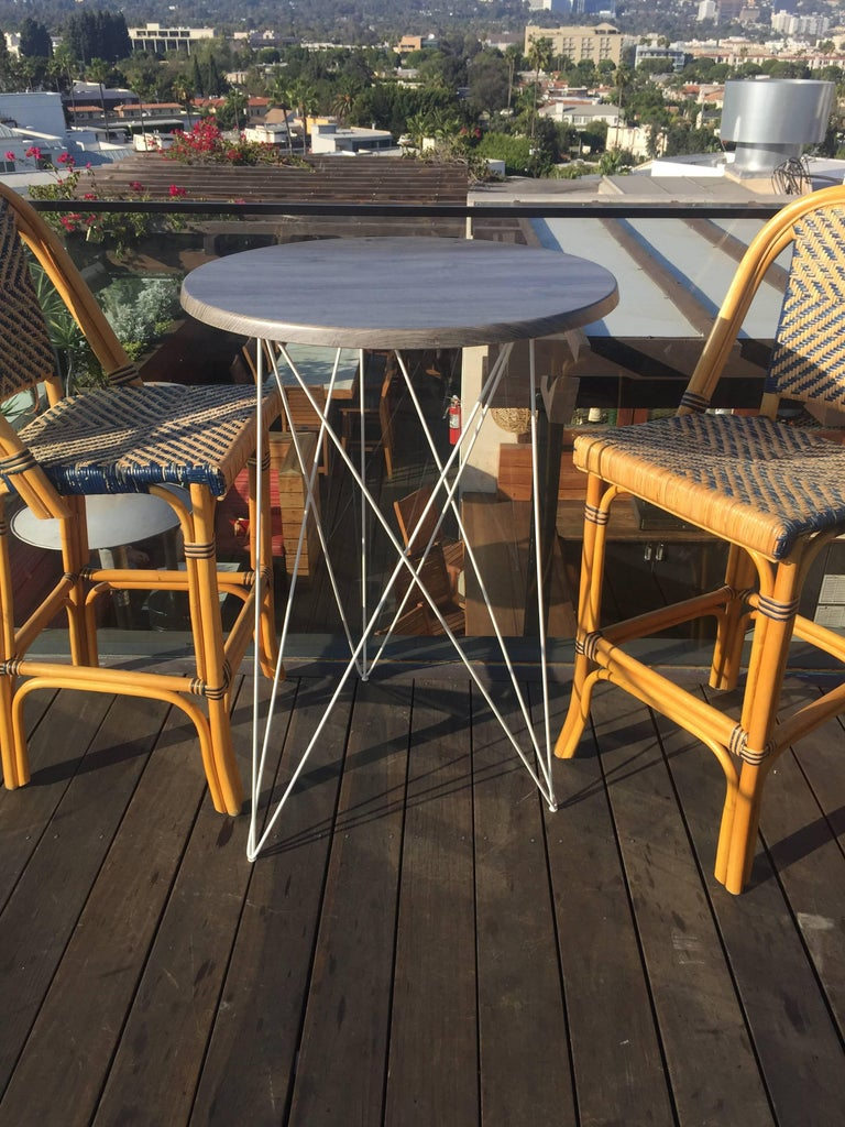 Outdoor Teak Dining or Entry Table Mid-Century Inspired Steel Powder Coated Base For Sale 2