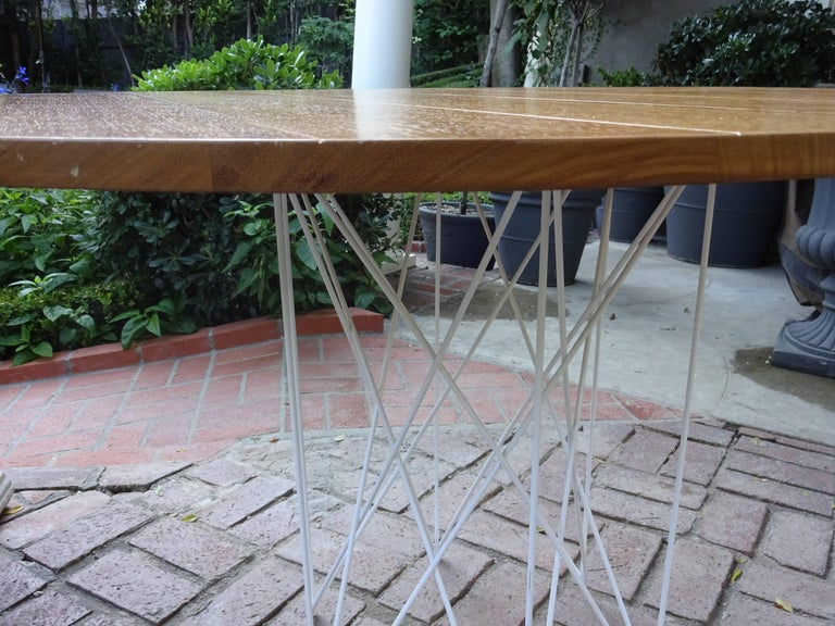 Oiled Outdoor Teak Dining or Entry Table Mid-Century Inspired Steel Powder Coated Base For Sale