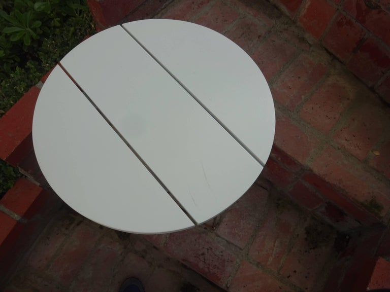 Stainless Steel Outdoor Teak Dining or Entry Table Mid-Century Inspired Steel Powder Coated Base For Sale