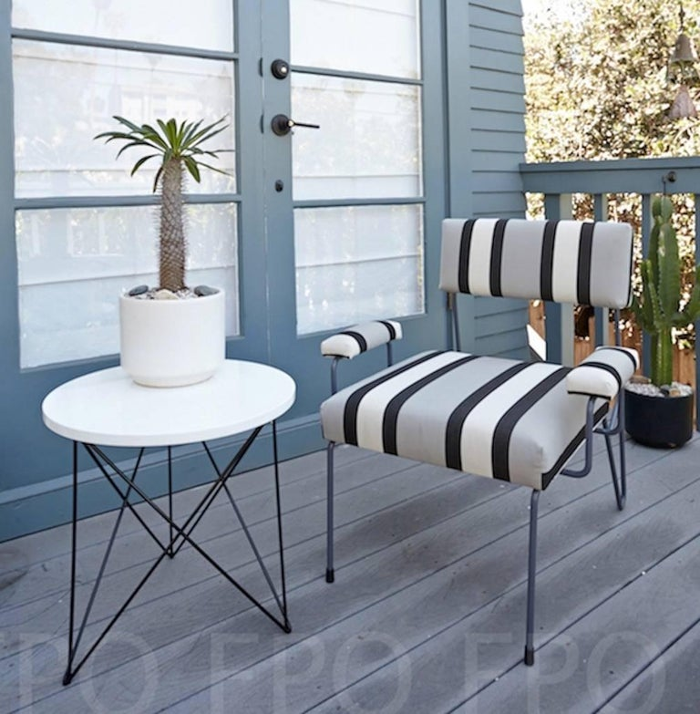 Teak Wood Dining Table White Powder Coated Legs White: Outdoor Teak Stainless Steel Powder Coated End Side Table