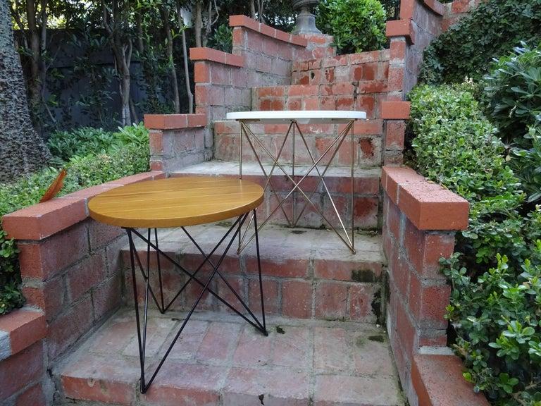 Outdoor teak stainless steel powder coated end side table for Teak side table outdoor