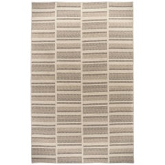Natural Woven Wool Rug in Tan Cream, Custom Crafted in USA & Reversible, Path