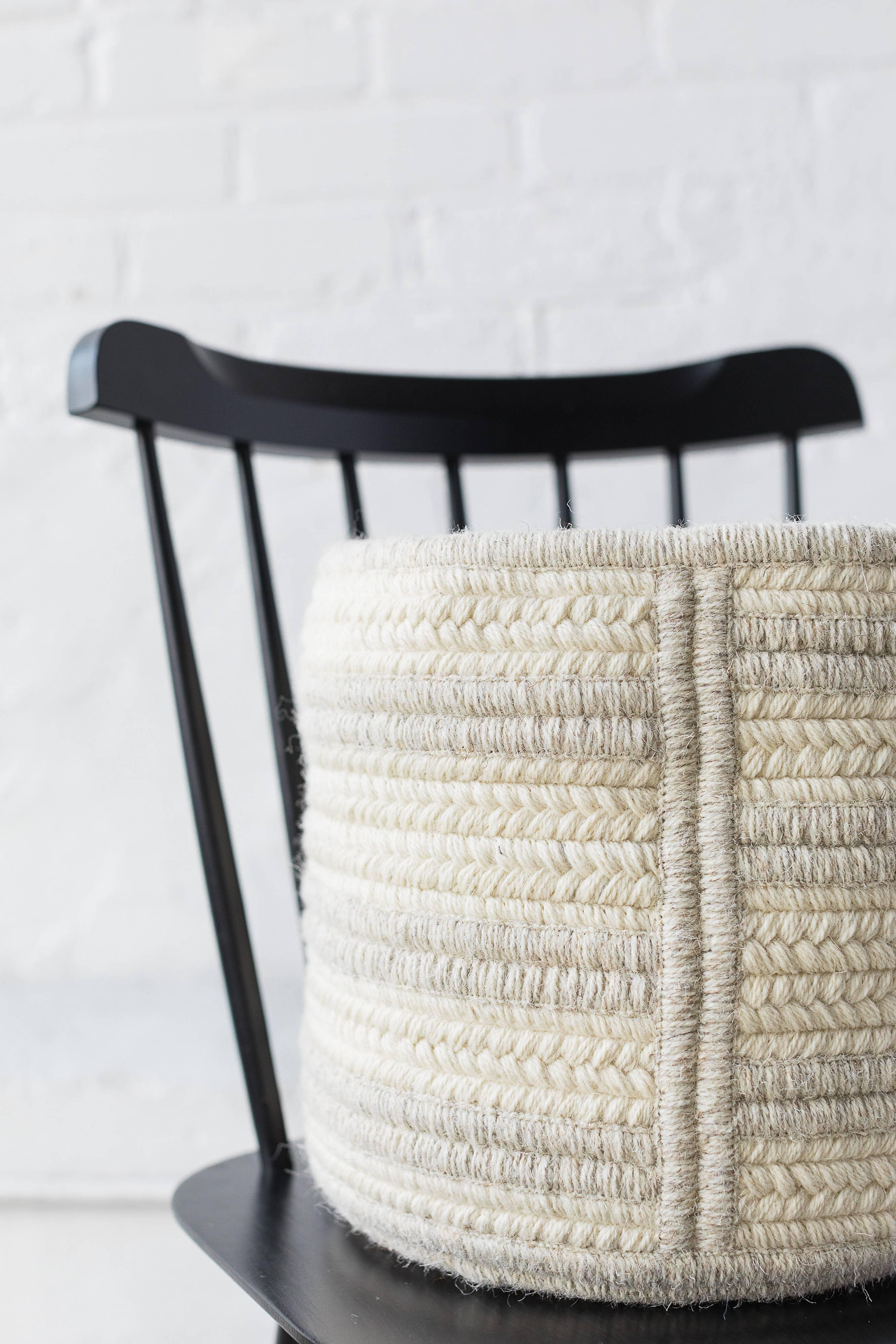 Organic Modern Woven Wool Raised Line Soft Storage Basket in Light Grey Custom Modern Decor & Woven Wool Raised Line Soft Storage Basket in Light Grey Custom ...