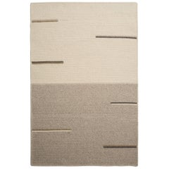 Line No. 1 Rug, Natural Woven Light Grey and Cream Wool, Custom Made in the USA