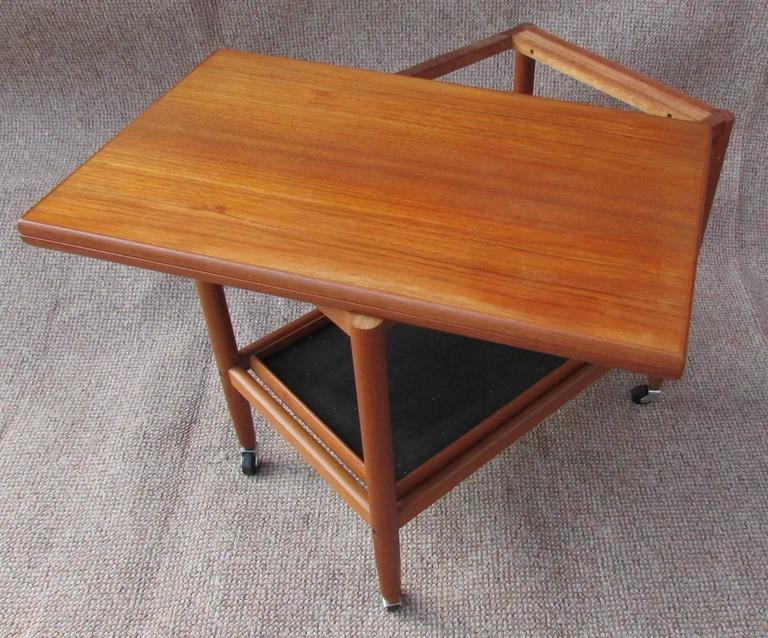 Mid Century Teak Danish Extending Drinks Trolley Folding Table By Arrebo,  1960s 2