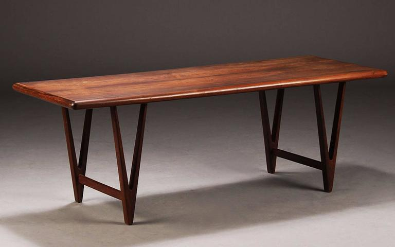 Large Danish Rosewood Coffee Table By E W Bach For Toften M Belfabrik 3