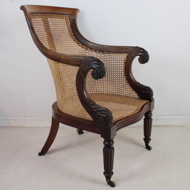 Regency Mahogany And Cane Filled English Library Or Bergère Chair In Good  Condition For Sale In