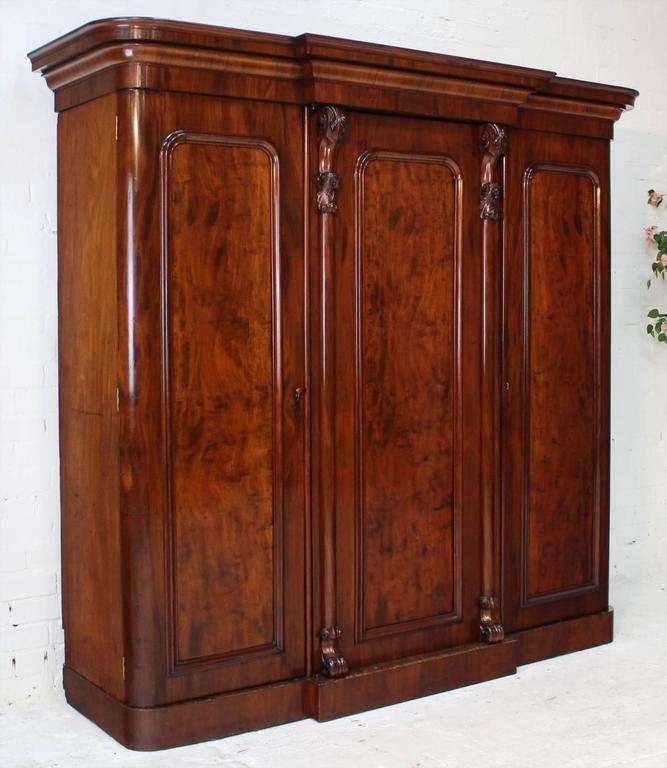 Central Coast Kitchens And Wardrobes Home: English Victorian Mahogany Three-Door Breakfront Wardrobe