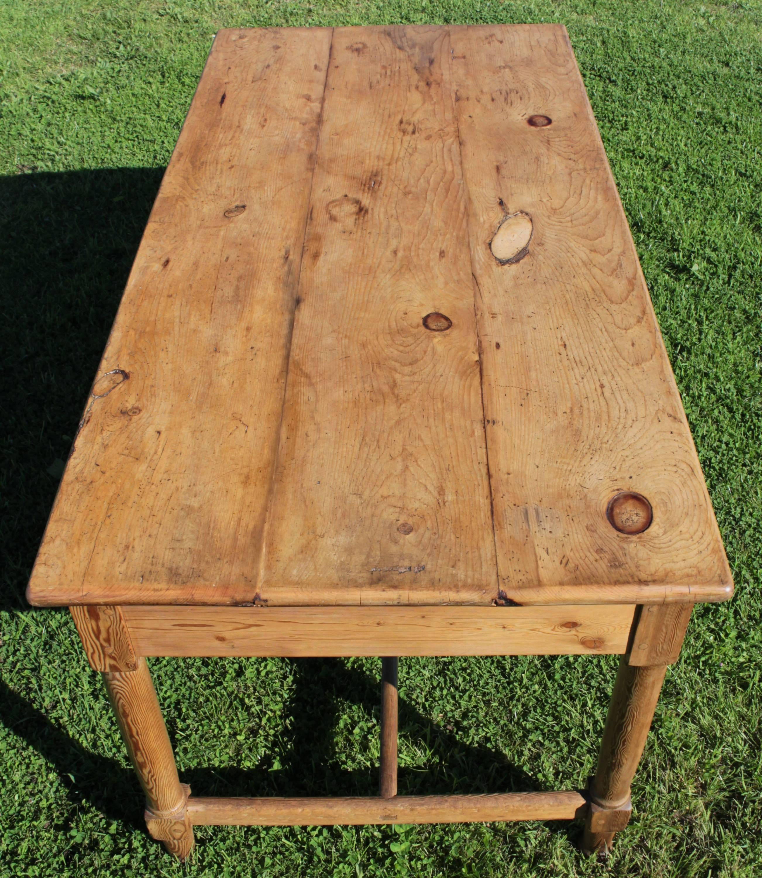 19th Century Antique Pine Farmhouse Refectory Dining Table For Sale
